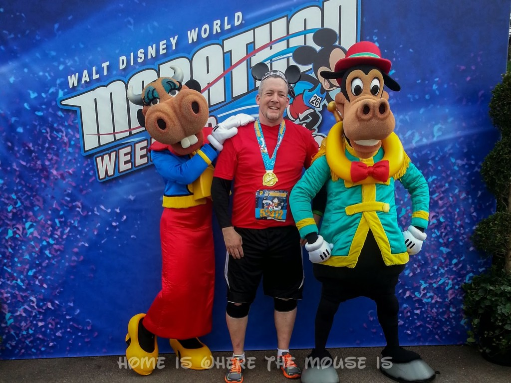 James with Clarabelle and Horace after finishing the WDW Half Marathon