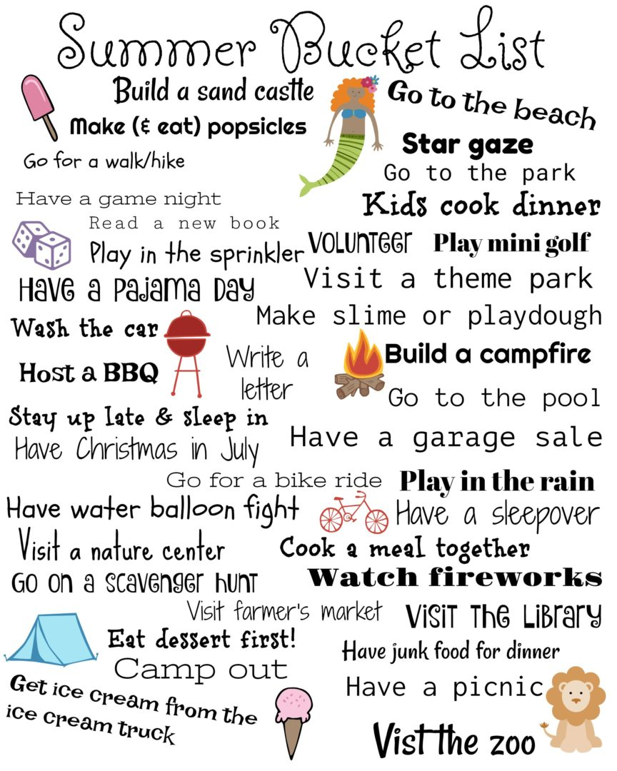Family Summer Bucket List | AlwaysMovingMommy.com | Easy, affordable ideas for your summer.