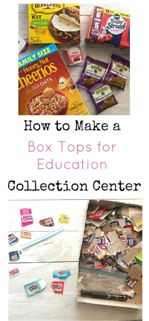 How to Create a Box Tops for Education Collection Center | AlwaysMovingMommy.com | Use this simple tutorial to make a Box Tops for Education collection center and earn free money for your child's school. #ad #EarnWithBoxTops #BoxTops #BoxTopsForEducation