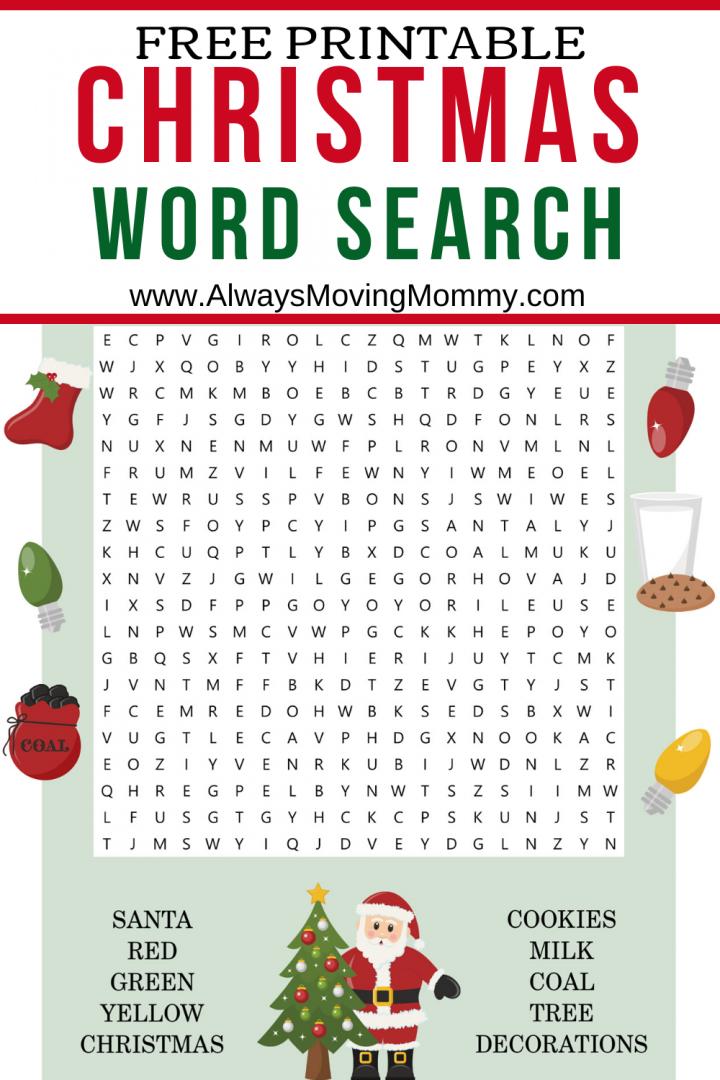 Free Printable Christmas Word Search   AlwaysMovingMommy.com